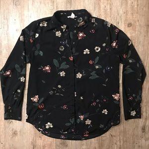HM Black Floral Button Up Blouse